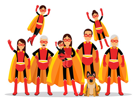 Illustration for Family of superheroes, grandmother, grandfather, mother, father, children and dog in orange capes vector Illustration isolated on a white background - Royalty Free Image