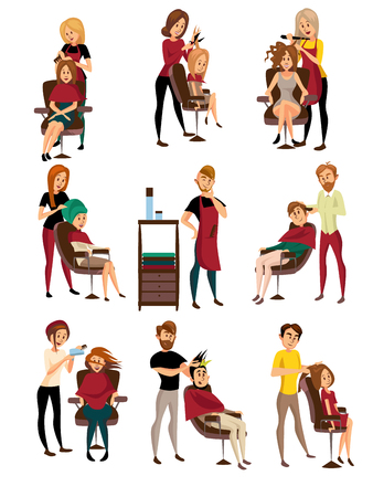 Illustration for Different hairdressers serving clients set, man and woman in barbershop, hairdressing salon cartoon vector Illustrations - Royalty Free Image