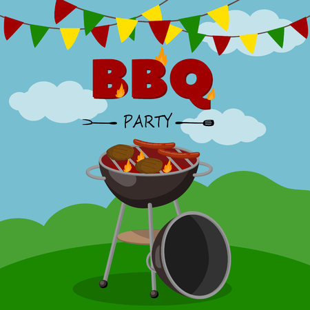 BBQ party banner, cartoon style poster, welcome invitation