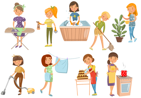 Ilustración de Young woman making different domestic works, housewife, cleaning, cooking, washing, Ironing, cooking, cartoon vector Illustrations on a white background - Imagen libre de derechos