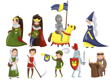 Illustration for Medieval people set, characters of middle ages historic period vector Illustrations. - Royalty Free Image