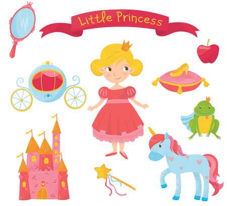 Collection of princess items  Girl in dress, handle mirror