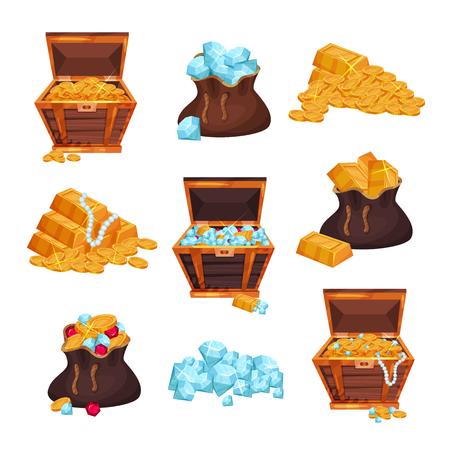 Illustration pour Colored set of chests and bags of treasures - image libre de droit