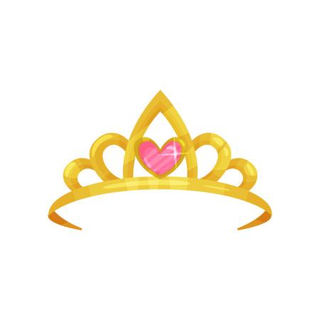 Cartoon icon of shiny princess crown with precious pink