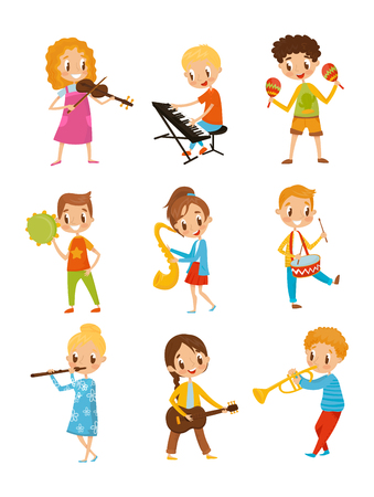Illustration pour Children playing music instrument, talented little musician characters cartoon vector Illustrations isolated on a white background. - image libre de droit