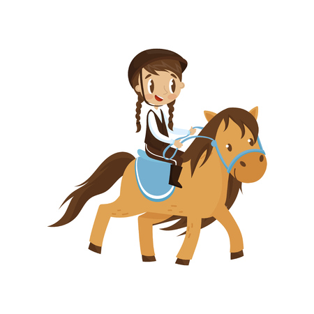 Cute litlle girl riding a horse, equestrian sport concept cartoon vector Illustration isolated on a white background.