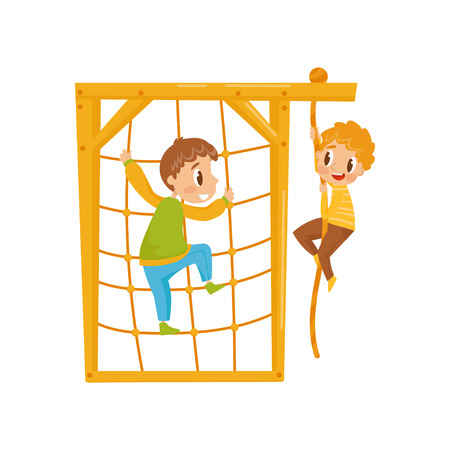 Ilustración de Boys climbing net rope, kids on a playground vector Illustration isolated on a white background. - Imagen libre de derechos