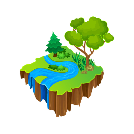 Illustration for Isometric island with blue river, green grass and big forest trees. Vector element for computer or mobile game - Royalty Free Image