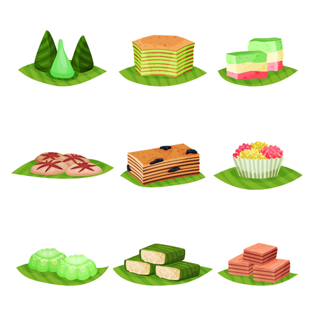 Illustration pour Flat vector set of delicious Indonesian desserts. Tasty and sweet food. Culinary theme. Elements for poster, menu or recipe book - image libre de droit