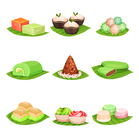 Illustration pour Flat vector set of traditional Indonesian sweets. Delicious desserts. Oriental food. Design for menu, poster or recipe book - image libre de droit