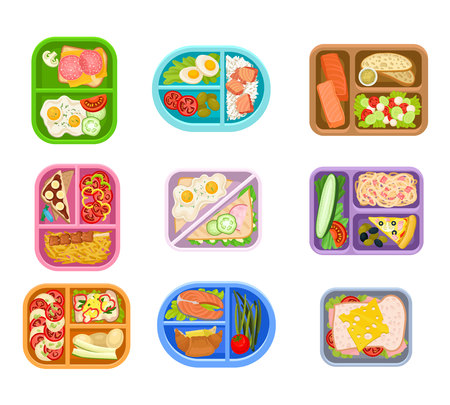 Vektor für Flat vector set of lunch boxes plastic trays with delicious meal. Appetizing food. Salmon fish, fresh vegetables, eggs and sandwiches - Lizenzfreies Bild