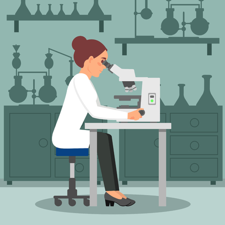 Ilustración de Woman scientist doing biology research using microscope. Female biologist at workplace. Lab equipment on background. Flat vector design - Imagen libre de derechos