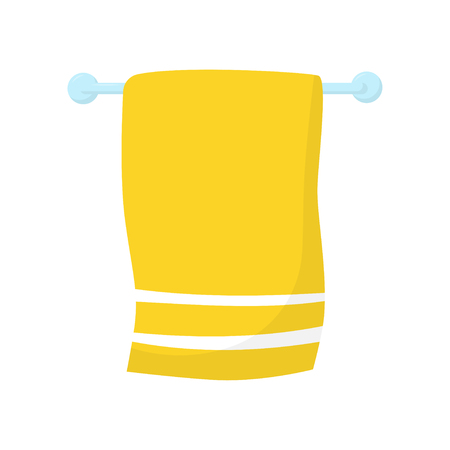 Bright yellow towel with white stripes hanging on blue horizontal wall-mount holder. Flat vector icon of bathroom accessory