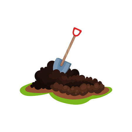 Illustration for Cartoon illustration of shovel in pile of ground. Hole for planting seed. Garden spade. Gardening and cultivation theme. Colorful flat vector icon in flat style isolated on white background. - Royalty Free Image