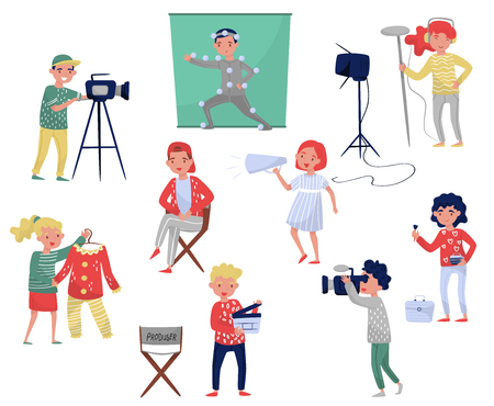 Illustration pour Members of film crew. Producer on chair, cameraman with equipment, costume designer, make-up artist. Movie making industry. Professionals at work. Cartoon people characters. Colorful flat vector set. - image libre de droit