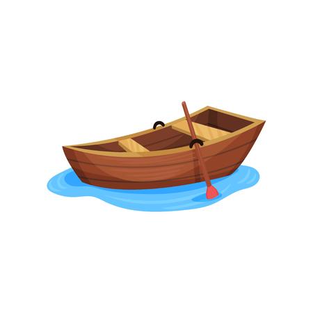 Ilustración de Wooden fishing boat vector Illustration isolated on a white background. - Imagen libre de derechos