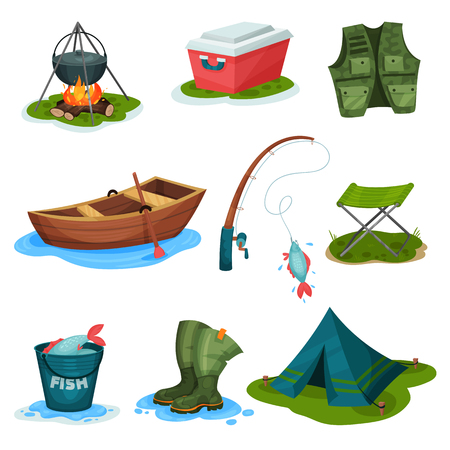 Illustration pour Fishing sport symbols set, outdoor activity equipment vector Illustrations isolated on a white background. - image libre de droit
