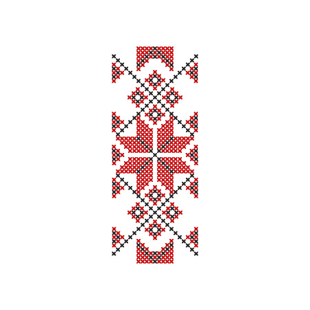 Illustration pour Icon of traditional red-black Romanian embroidery. Ethnic ornament pattern. Decorative element for textile, poster or notebook cover. Colorful flat vector illustration isolated on white background. - image libre de droit