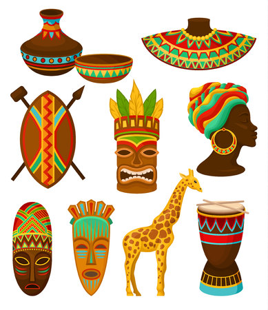 Ilustración de Collection of authentic symbols of Africa, crockery, weapon, mask, drum with traditional ethnic ornament vector Illustrations isolated on a white background. - Imagen libre de derechos