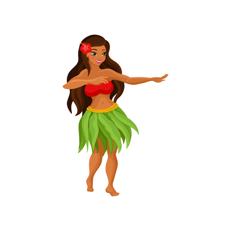 Illustration for Hawaiian girl in grass skirt dancing and hibiscus flower in her hair vector Illustration isolated on a white background. - Royalty Free Image