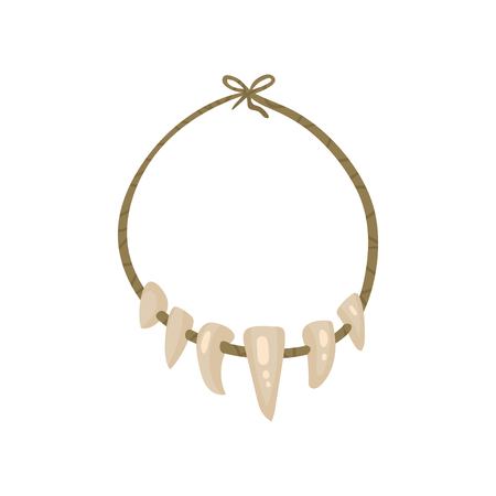Illustration pour Necklace with Teeth, stone age symbol vector Illustration isolated on a white background. - image libre de droit