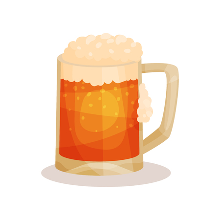Cartoon style icon of draft beer with foam  Alcoholic