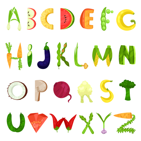 Veggie English alphabet letters made from fresh vegetables vector Illustration isolated on a white background.