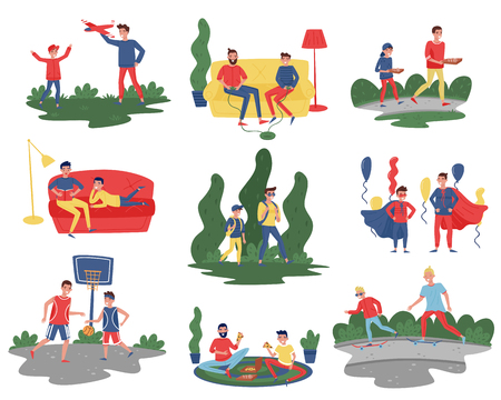 Ilustración de Flat vector set of fathers with sons in different actions. Dads spending time with their kids at home and outdoor. Fatherhood theme - Imagen libre de derechos