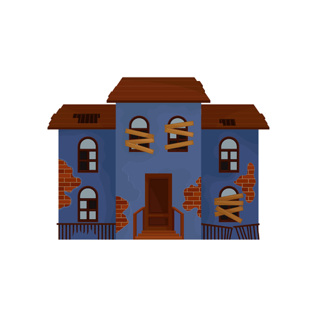 Illustration pour Old blue house with boarded up windows and broken roof. Private home. Abandoned building. Architecture theme. Flat vector design - image libre de droit