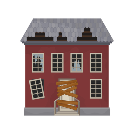 Illustration pour Facade of abandoned house with broken windows and roof. Door boarded up. Old building. Private home. Flat vector design - image libre de droit