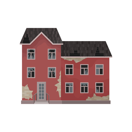 Illustration pour Big abandoned mansion. Old house with peeling paint, broken roof and windows. Flat vector element for mobile game - image libre de droit