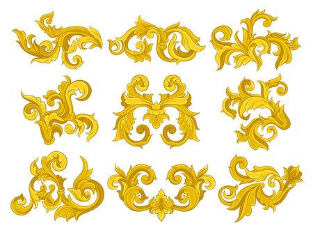 Ilustración de Vector set of vintage baroque ornaments. Elegant floral patterns in Victorian style. Luxurious ornamental elements - Imagen libre de derechos