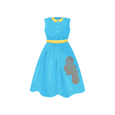 Illustration for Cartoon illustration of beautiful blue dress with brown coffee spot. Casual woman clothes. Dirty garment for washing. Laundry theme. Colorful vector icon in flat style isolated on white background. - Royalty Free Image