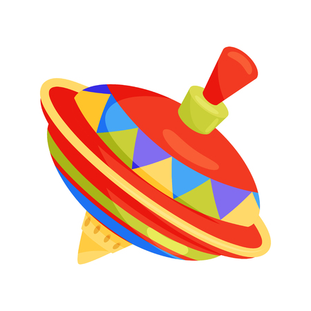 Illustration for Vintage spinning top. Multicolored children whirligig toy. Plastic humming top. Flat vector icon - Royalty Free Image