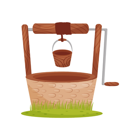 Illustration pour Old stone water well, wooden bucket hangs on rope. Element for rural landscape. Farm theme. Graphic design for children book. Colorful vector illustration in flat style isolated on white background. - image libre de droit