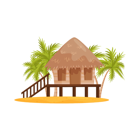 Illustration pour Beach bungalow with wooden porch and stairs, green palm trees on background. Balinese house. Flat vector design - image libre de droit