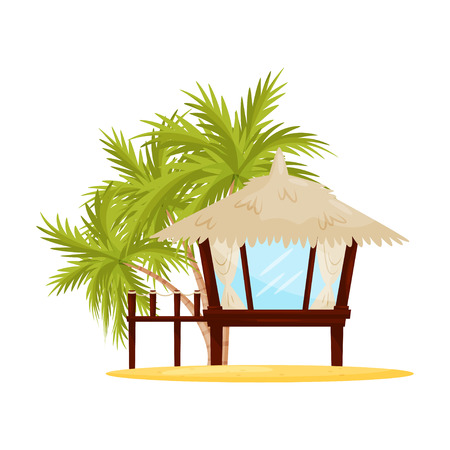Illustration pour Small beach house with big windows. Tropical wooden bungalow and green palm trees on background. Flat vector design - image libre de droit