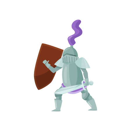 Medieval warrior with shield and sword in hands in fighting pose