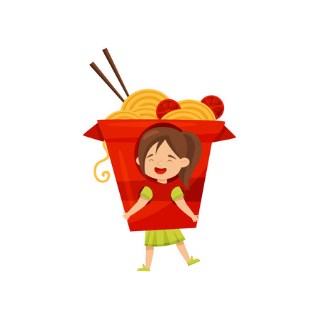 Funny little girl dressed as box of noddles with tomatoes and chopsticks. Kid in carnival costume. Flat vector design