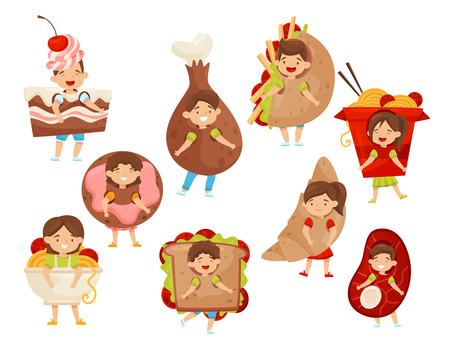 Flat vectoe set of kids wearing fast food costumes. Funny little boys and girls. Cartoon children characters