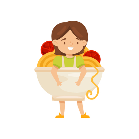 Cute little girl dressed as bowl of noddles with tomatoes. Funny costume for carnival. Kid with smiling face. Cartoon character. Colorful vector illustration in flat style isolated on white background