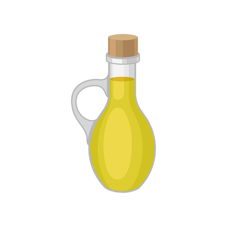 Oil in a bottle on white background. Wok concept. Traditional oriental  food. Vector flat illustration.: Royalty-free vector graphics