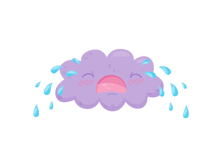 Crying cloud on white background  Rain concept : Royalty