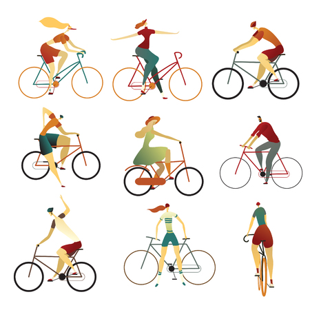 Illustration pour Collection of people riding bicycles of various types - city, bmx, hybrid, cruiser, single speed, fixed gear.. Set of cartoon men and women on bikes. Colorful vector illustration on a white background. - image libre de droit