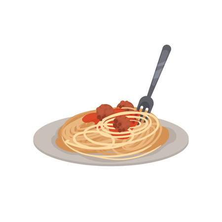Pasta with meatballs, sauce and a fork on a plate  Vector