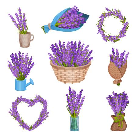 Illustration pour Set of bouquets of purple flowers. Vector illustration on white background. - image libre de droit