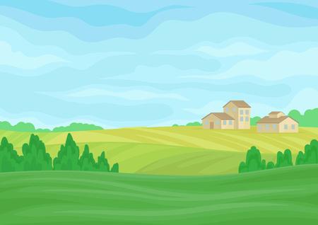 Illustration pour Landscape with stone barns in the distance. Vector illustration on white background. - image libre de droit