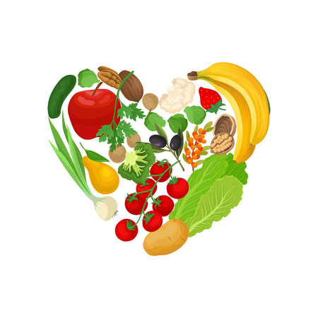 Vegetables, fruits and nuts are laid out in the shape of a heart. Vector illustration on white background.