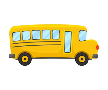 Illustration for Yellow School Bus of Right Side Projection Vector Illustration - Royalty Free Image