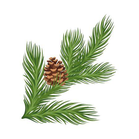 Illustration pour Lush green larch branch with a ripe open brown cone. Vector illustration. - image libre de droit